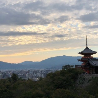 Looking over Kyoto as sunset approaches from the Kiyomizu-dera on the outskirts of the city